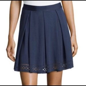 🛍 Max Studio Laser Cut Ponte Skirt Navy Sz XS